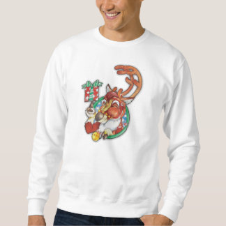 Winking Holiday Reindeer Christmas Jumper Sweatshirt