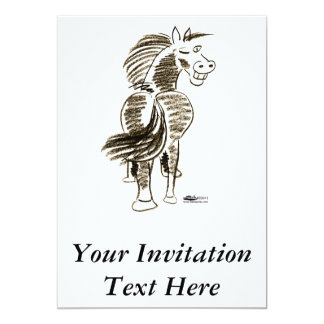 "Winking Horse Good Luck! 5"" X 7"" Invitation Card"