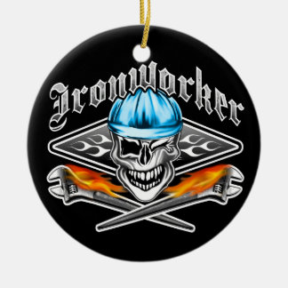 Winking Ironworker Skull and Spud Wrenches 7 Blue Round Ceramic Ornament