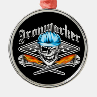 Winking Ironworker Skull and Spud Wrenches 7 Blue Silver-Colored Round Ornament