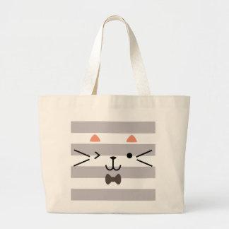 Winking Kitty Large Tote Bag