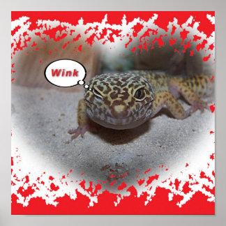 Winking Leopard Gecko Lizard Poster