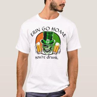 Winking Leprechaun Skull: Erin Go Home T-Shirt