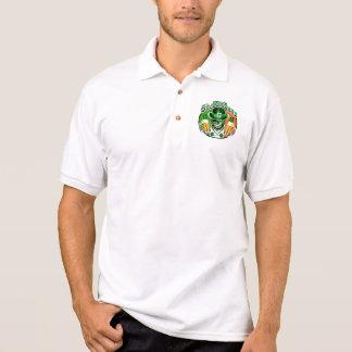Winking Leprechaun Skull: Shenanigans 2 Polo Shirts