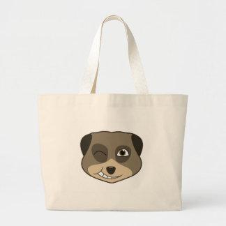 Winking meerkat design large tote bag