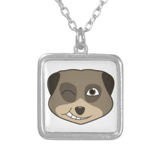 Winking meerkat design silver plated necklace