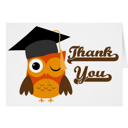Winking Owl with Graduation Cap Thank You Card