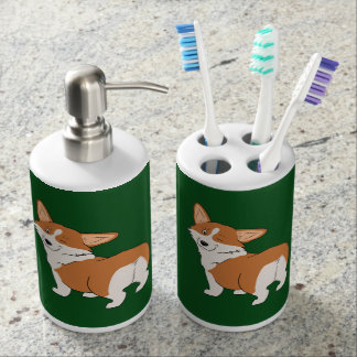 Winking Pembroke Corgi Soap Dispenser And Toothbrush Holder
