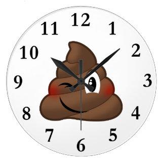 Winking Poop Emoji Large Clock
