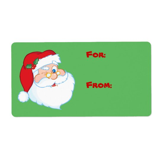 Winking Santa Christmas Gift Tag Label