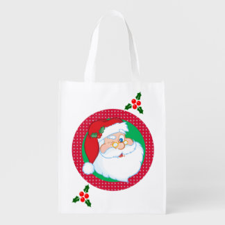 Winking Santa Claus Holiday Grocery Bags