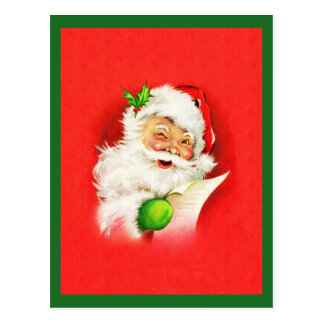 Winking Santa Claus Postcard