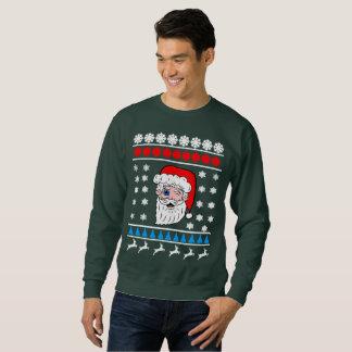 Winking Santa Head Ugly Christmas Sweatshirt
