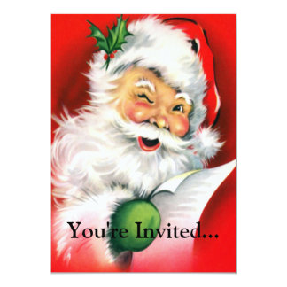 "Winking Santa 5"" X 7"" Invitation Card"