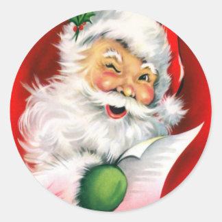 Winking Santa Round Sticker
