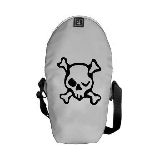 Winking Skull And Crossbones Courier Bag