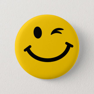 Winking smiley face 2 inch round button