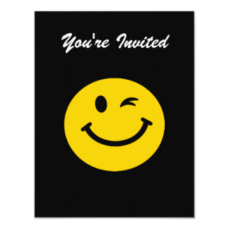 "Winking smiley face 4.25"" x 5.5"" invitation card"