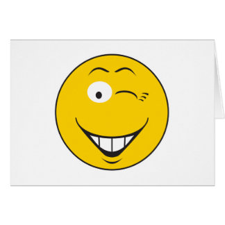 Winking Smiley Face Greeting Card