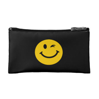 Winking smiley face cosmetic bag
