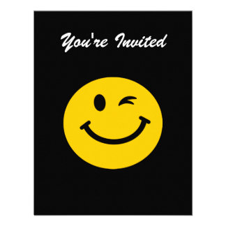 Winking smiley face personalized invitations