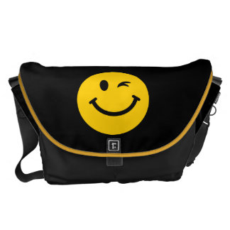 Winking smiley face courier bag