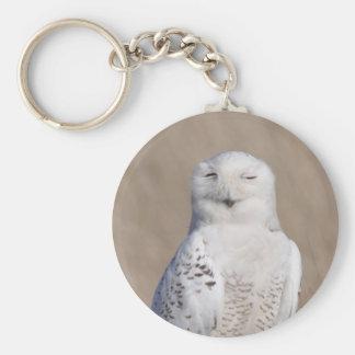 Winking Snowy Owl Basic Round Button Keychain