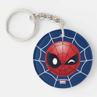 Winking Spider-Man Emoji Double-Sided Round Acrylic Keychain