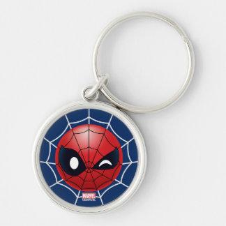 Winking Spider-Man Emoji Silver-Colored Round Keychain