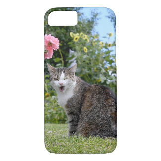 winking tabby cat on grass iPhone 8/7 case