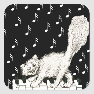 Winking White Cat Fluffy Tail on Piano Keys Square Sticker