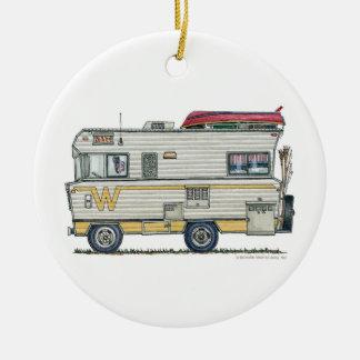 Winnebago Camper RV Apparel Round Ceramic Ornament
