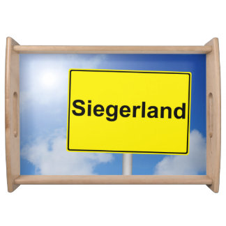 Winner country sign with sky background serving tray