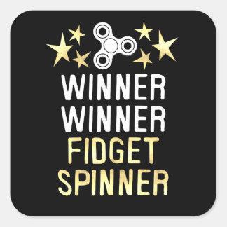 Winner Winner Fidget Spinner Square Sticker
