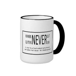 Winners never quit ringer mug