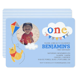 "Winnie the Pooh | Baby Boy - First Birthday 5"" X 7"" Invitation Card"