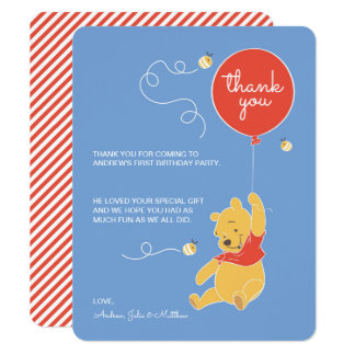 "Winnie the Pooh   Baby Boy- Thank You 4.25"" X 5.5"" Invitation Card"