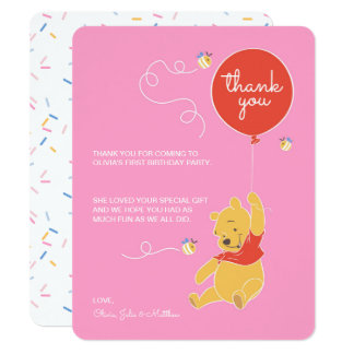 "Winnie the Pooh | Baby Girl - Thank You 4.25"" X 5.5"" Invitation Card"