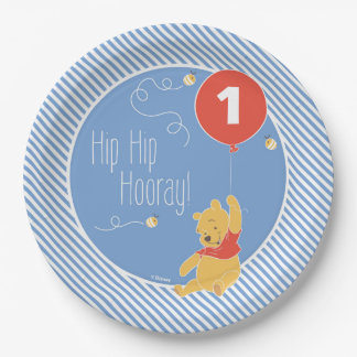 Winnie the Pooh Balloon   Boy - First Birthday Paper Plate