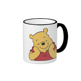 Winnie the Pooh hands on face smiling Ringer Mug