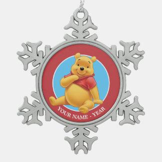 Winnie the Pooh   se reposant ajoutent votre nom Ornement Flocon De Neige Pewter