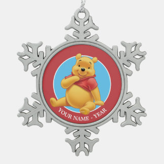 Winnie the Pooh | Sitting Add Your Name Snowflake Pewter Christmas Ornament