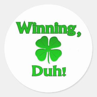 Winning Charlie Sheen St. Patrick's Day Round Sticker