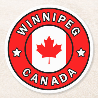 Winnipeg Canada Round Paper Coaster