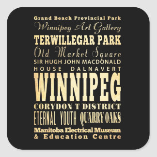 Winnipeg City of Canada Typography Art Square Sticker