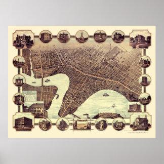 Winnipeg, MB, Canada Panoramic Map - 1884 Poster