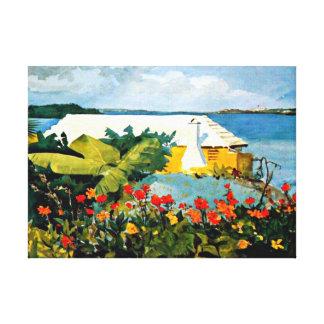 Winslow Homer art: Flower Garden and Bungalow Canvas Print