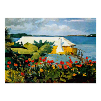 Winslow Homer art: Flower Garden and Bungalow Poster