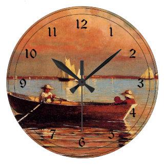 Winslow Homer: Glouchester Harbor, 1873, artwork Large Clock