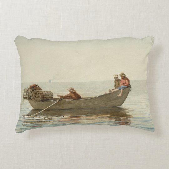 Winslow Homer - Three Boys in a Dory Decorative Pillow